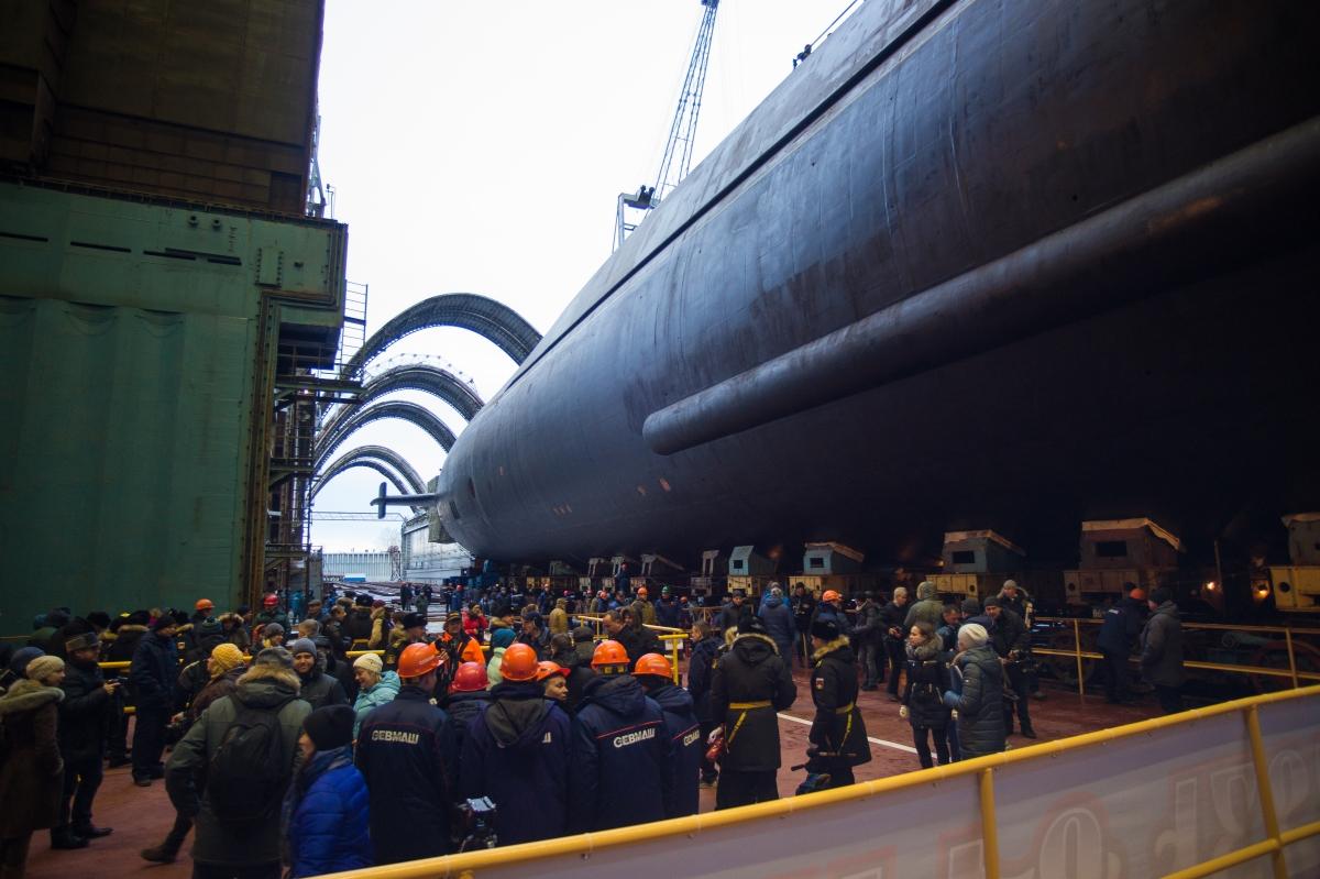 Вывод из эллинга атомного подводного крейсера «Князь Владимир»