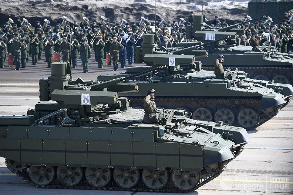 Combat vehicles support tanks BMPT at the rehearsal for the Victory Parade in Alabino