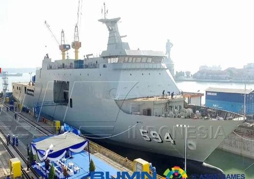 Спущен на воду шестой десантный вертолетный корабль-док для ВМС Индонезии