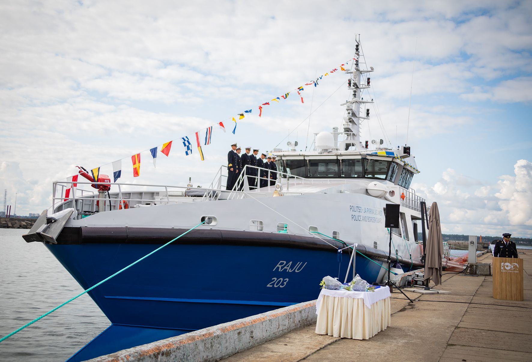 Новый эстонский патрульный корабль Workboats, Эстонии, постройки, Baltic, пограничной, службы, состав, эстонского, корабльPVL203, Таллин, патрульный, судостроительного, предприятия, полицейской, корабля, 16082018, Вступивший, также, Truuväärt, wwwpealinnee