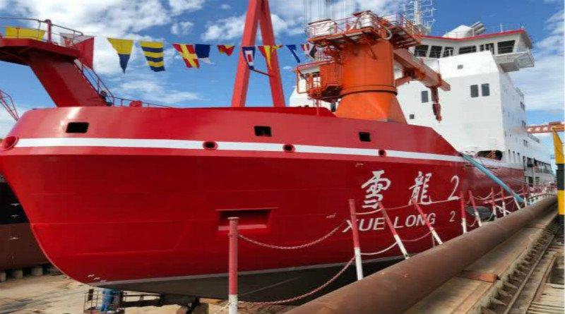 Спущен на воду первый научно-исследовательский ледокол китайской постройки Xue Long 2