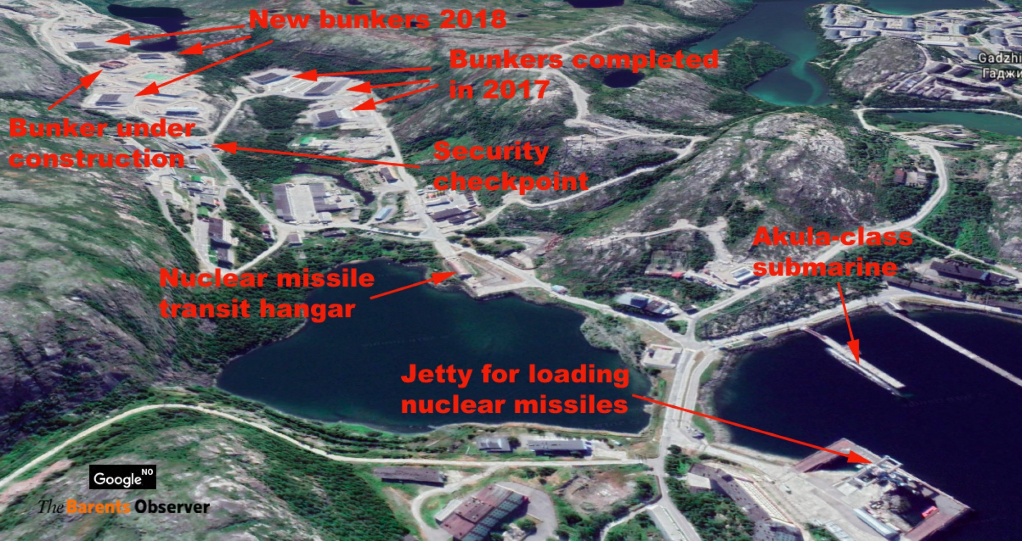 Massive construction of new protected weapons storage facilities in the Northern Fleet, Northern fleet, protected, storage, Google, Earth, Russia, new weapons, thebarentsobservercom, rocket technical, rockets, Okolnaya, about, snapshot, Gadzhievo, complex, Okolnaya, construction, complex