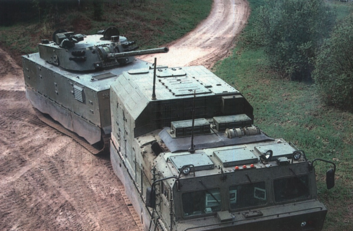 """120-мм самоходное орудие """"Магнолия"""" на базе двухзвенного транспортера ДТ-30МП"""