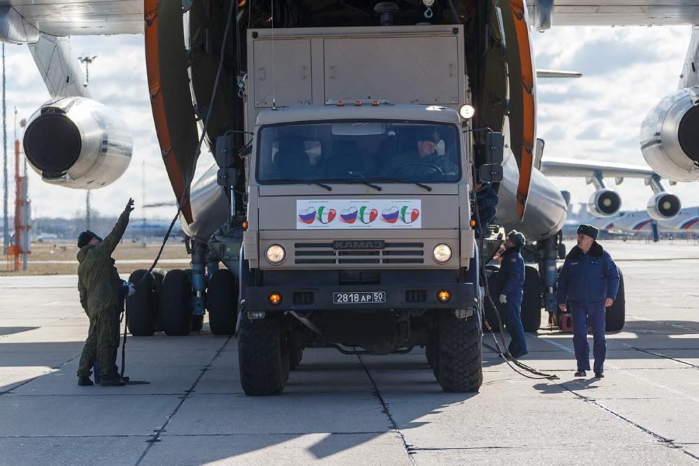 Отправка российских военнослужащих войск РХБЗ в Италию 90352663_2598804987028908_3967670090597400576_o