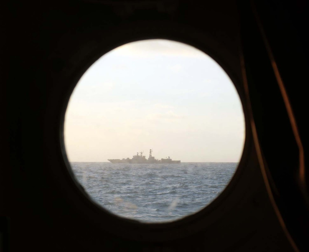 A view from HMS Severn as she monitors the Vice-Admiral Kulakov