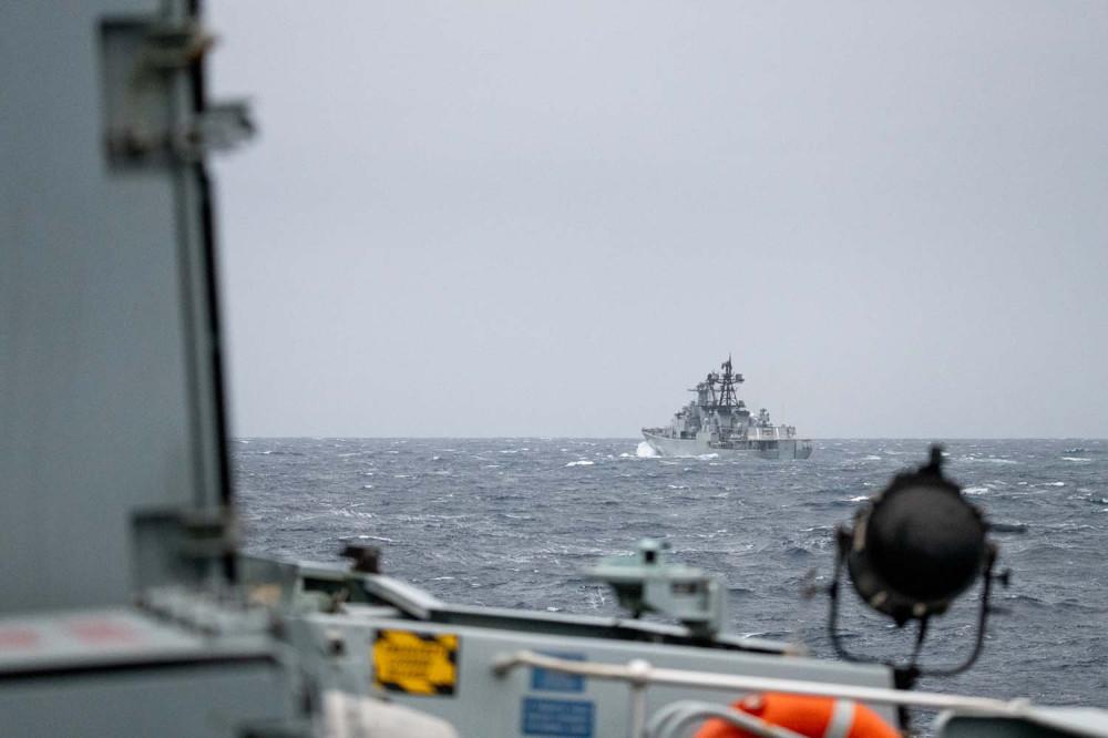 HMS Northumberland monitors Vice-Admiral Kulakov