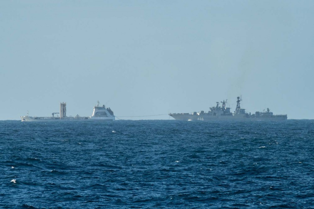 Vice-Admiral Kulakov is replenished by a tanker
