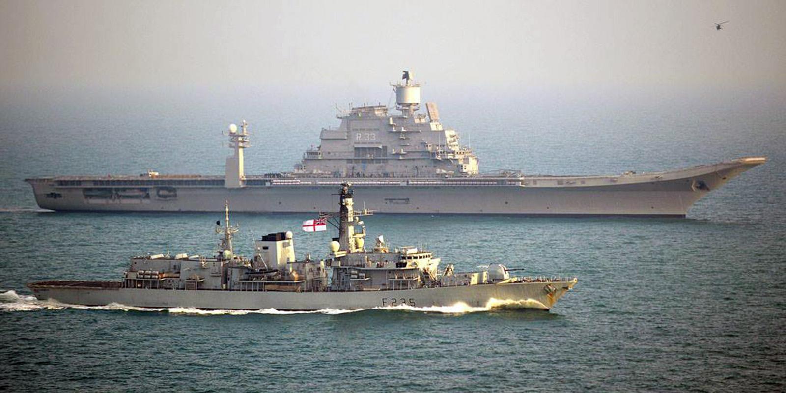 HMS Monmouth escorts INS Vikramaditya