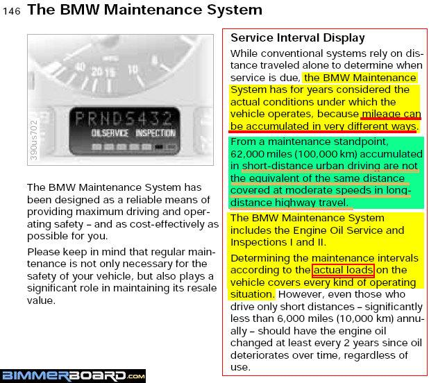 E39 Service Interval Maintenance System Calculation