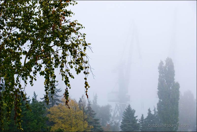 Азовский порт в тумане
