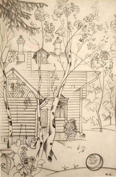 Ю.Анненков. Дача в Куоккале. 1916. Бумага, графитовый карандаш. ГТГ.