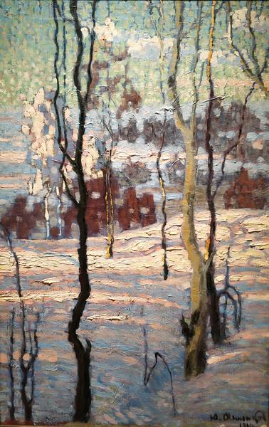 Ю.Анненков. Зимний пейзаж. 1910. Холст, масло. ГТГ.