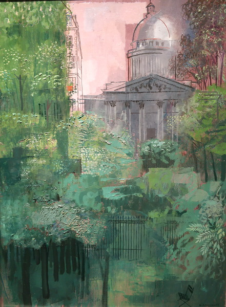 Ю.Анненков. Вид на Пантеон из Люксембургского сада. 1925. Холст, масло. Центр Жоржа Помпиду.
