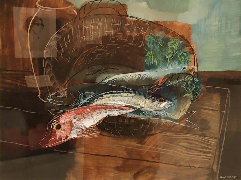 Ю.Анненков. Натюрморт с рыбами. 1925. Бумага, гуашь. Центр Жоржа Помпиду.