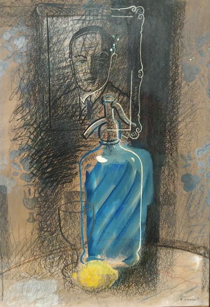 Ю.Анненков. Автопортрет с бутылкой сельтерской. 1930-е. бумага, уголь, пастель, тушь, гуашь. Галерея «Наши художники».