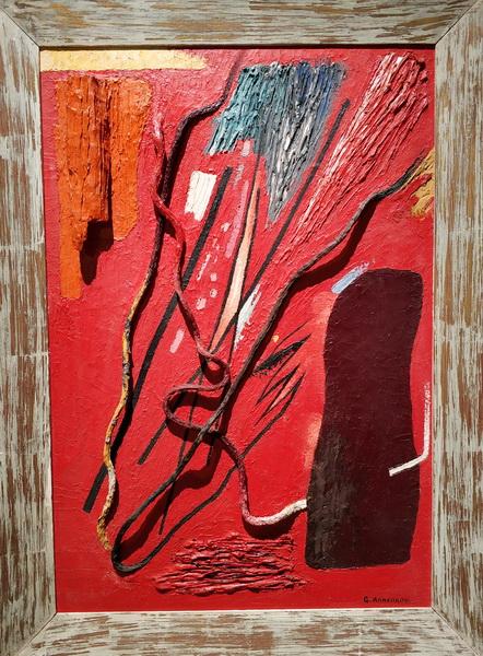 Ю.Анненков. Абстрактная композиция. 1950-1960-е. Оргалит, ассамбляж. Частное собрание.