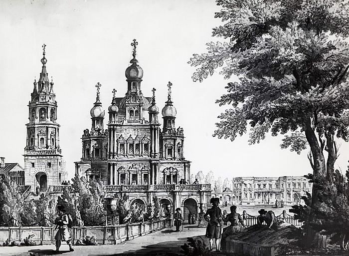 Церковь Успения Божией Матери на Покровке. Рисунок Джакомо Кваренги. Не датирован.