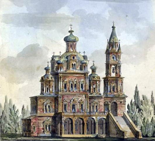 Церковь Успения Божией Матери на Покровке. Акварель Джакомо Кваренги. 1790-1799.