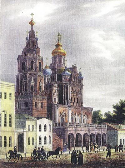 Церковь Успения Божией Матери на Покровке. Литография О.Кадоля. 1825.