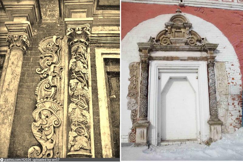 Белокаменная отделка портала Успенской церкви. Фото 1920-1935. Этот же портал на территории Донского монастыря.