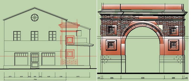 Схема встроенной части колокольни Успенской церкви в современное здание кафе.