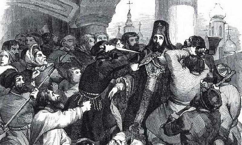 Гравюра P. Iw. Архиепископ Амвросий, растерзанный при возмущении черни во время чумы 16 сентября 1771 г. в Донском монастыре. Париж, 1845.