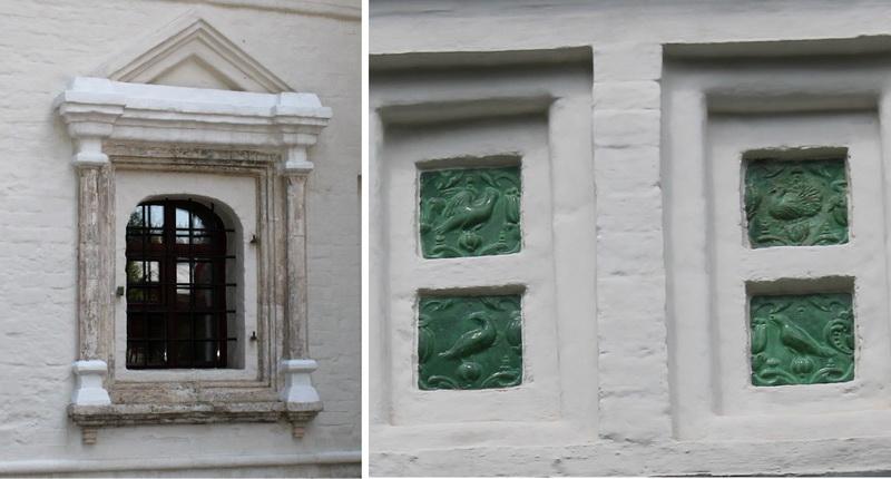 Окно трапезной и изразцы на колокольне Старого собора.