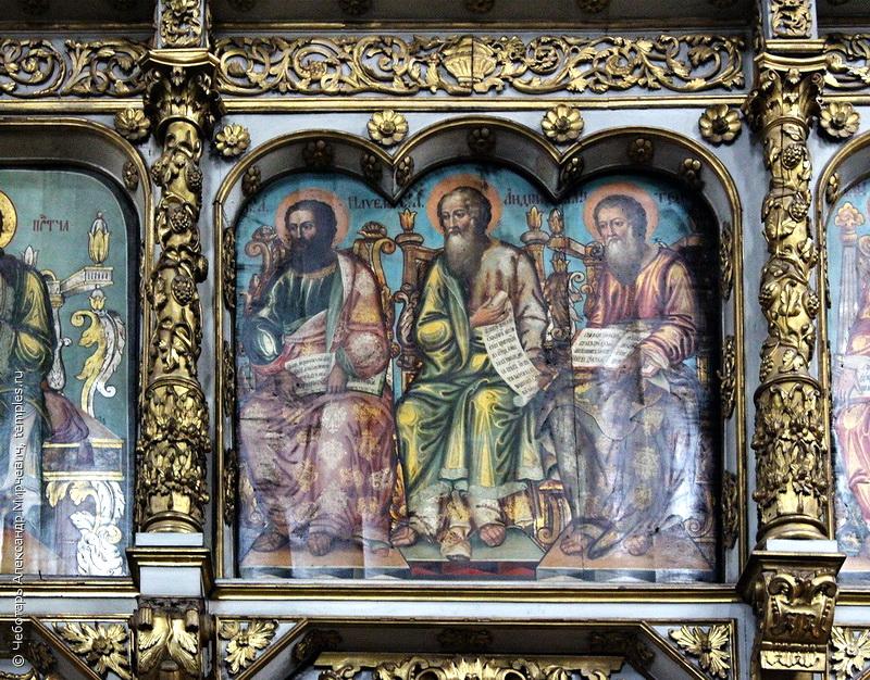Апостолы Павел, Андрей, Матфей - икона Деисусного ряда иконостаса собора Донской иконы Божией Матери. Фото 2016.
