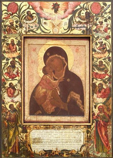Список 16 века с иконы Донской Богоматери Феофана Грека в раме Симона Ушакова с сюжетом «Древо Иессеево».