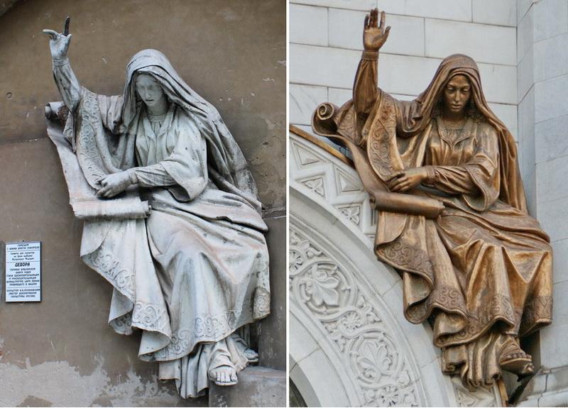 Горельеф «Девора, призывающая народ к борьбе с поработителями». Справа современный горельеф, выполненный Церетели из бронзы.