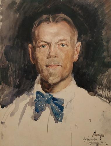 С. Виноградов. Автопортрет. 1922. Бумага, акварель. ГТГ.