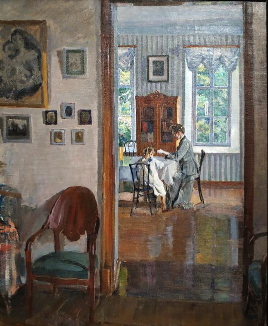 С. Виноградов. В доме. 1910. Холст, масло. Калужский музей изобразительных искусств.
