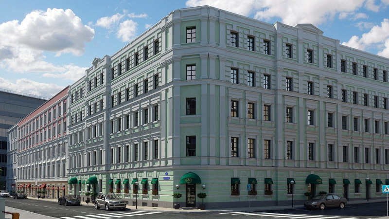 Классические фасады комплекса «Театральный дом» с угла Мерзляковского и Хлебникова переулков.