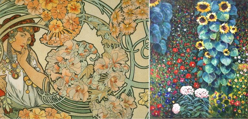 Альфонс Муха. Женщина в цветах. 1890-е. - Густав Климт. Сад с подсолнухами. 1905.