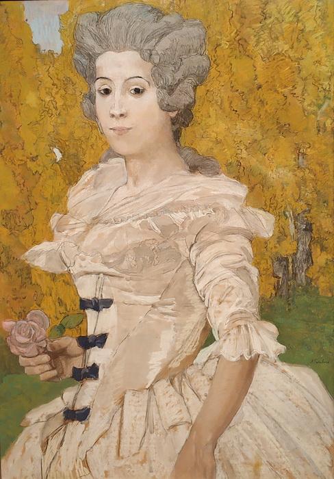 А.Головин. Маркиза (Женщина в белом). 1908. Бумага, пастель.