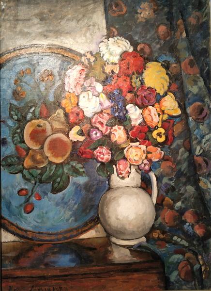 И.Машков. Цветы в вазе (на фоне подноса). 1912-1914. Холст, масло.