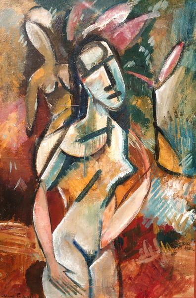 А.Родченко. Девушка с цветком. 1915-1916. Картон, темпера, лак.