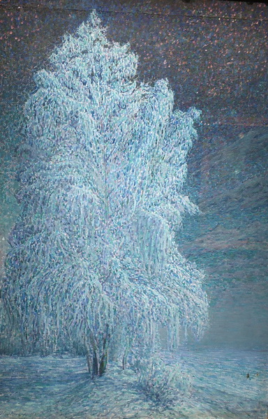Н.Мещерин. Морозная ночь. 1908. Бумага на картоне, масло.