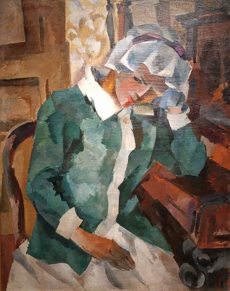 Р.Фальк. У пианино. 1917. Холст, масло. Национальная галерея Армении, Ереван. – Изображена первая жена художника Е.Потехина.