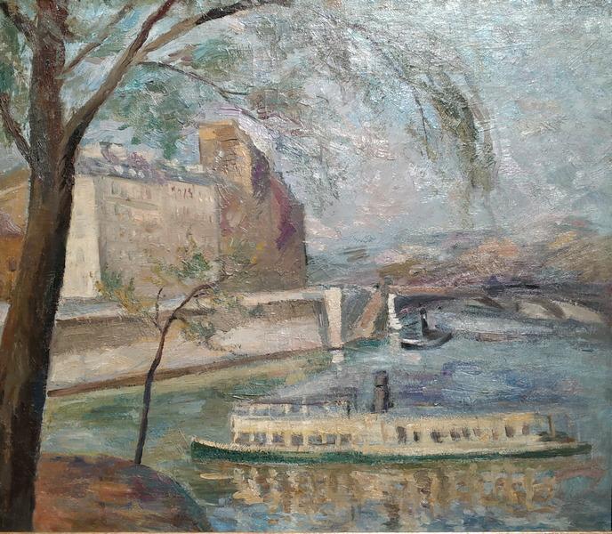 Р.Фальк. Пейзаж с деревом и пароходом. 1929-1930. Холст, масло. Частное собрание, Москва.
