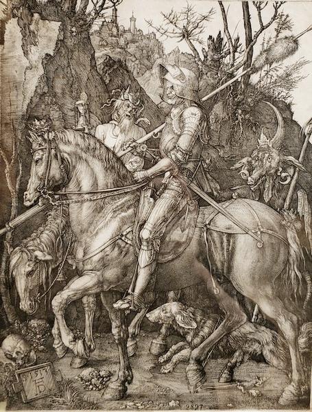 Альбрехт Дюрер. Рыцарь, смерть и дьявол. 1513.