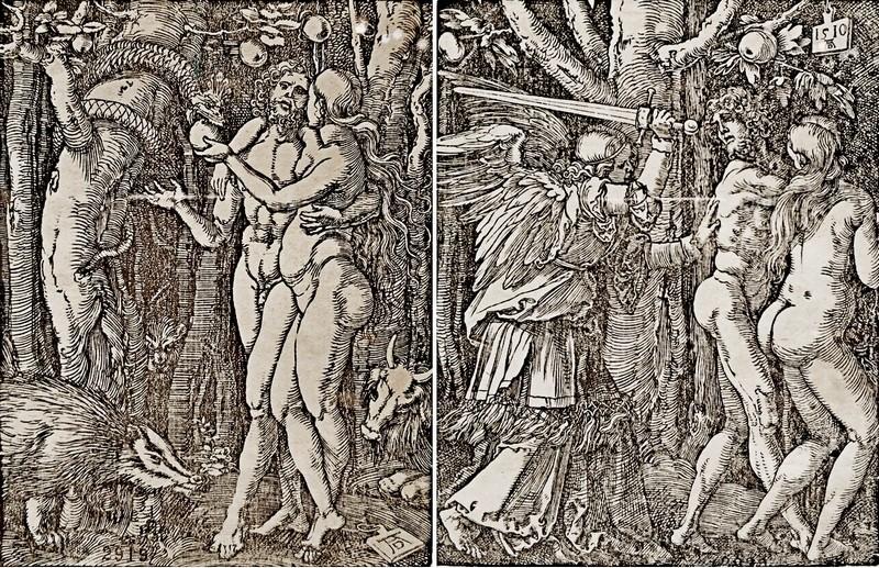 Альбрехт Дюрер. Грехопадение. – Изгнание из рая. Лист 1 и 2 из серии «Малые страсти». Около 1510.