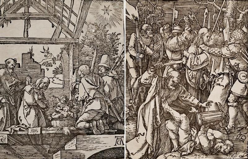 Альбрехт Дюрер. Рождество Христово (Поклонение пастухов). – Взятие Христа под стражу.  Лист 4 и 11 из серии «Малые страсти». Около 1509.