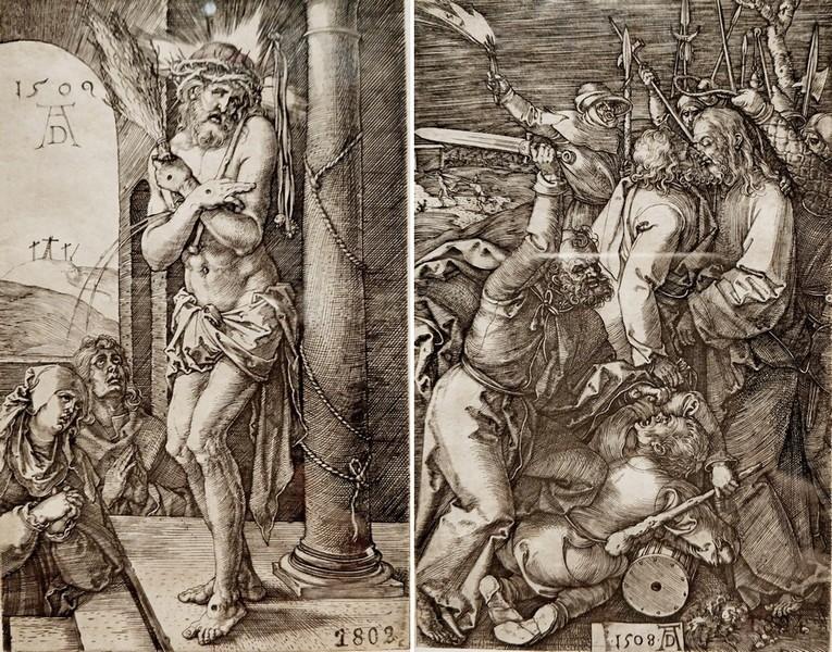 Альбрехт Дюрер. Христос, стоящий у колонны. Титульный лист. 1509. - Взятие Христа под стражу. 1508. Лист 2 из серии «Гравированные страсти».