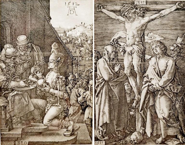 Альбрехт Дюрер. Пилат умывает руки. 1512. - Распятие. 1511. Лист 8 и 10 из серии «Гравированные страсти».