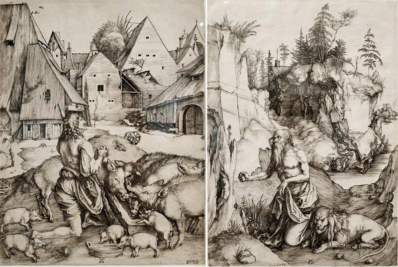 Альбрехт Дюрер. Блудный сын. Около 1496. - Святой Иероним в пустыне. Около 1496.