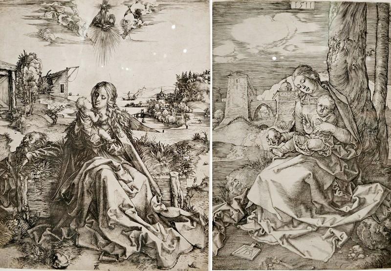 Альбрехт Дюрер. Святое семейство со стрекозой. Около 1495. -  Мария с грушей. 1511.