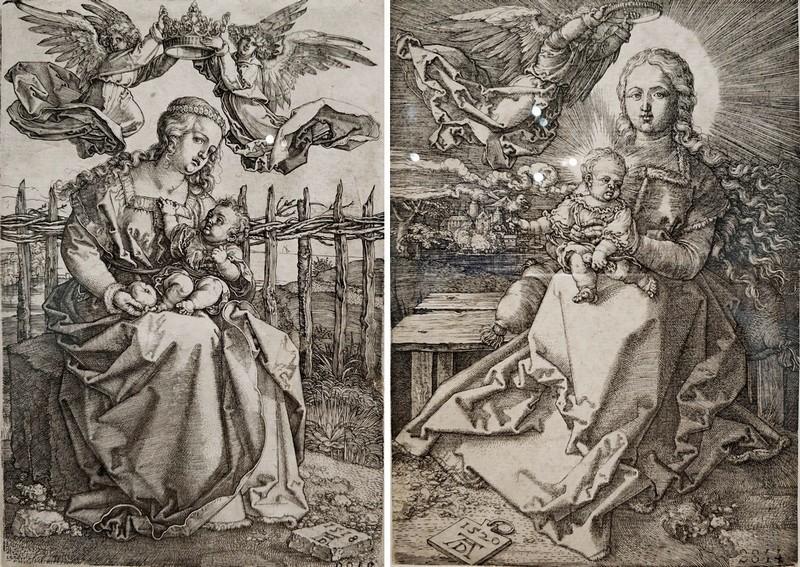 Альбрехт Дюрер. Богоматерь, коронуемая двумя ангелами. 1518. -  Богоматерь, коронуемая одним ангелом. 1520.