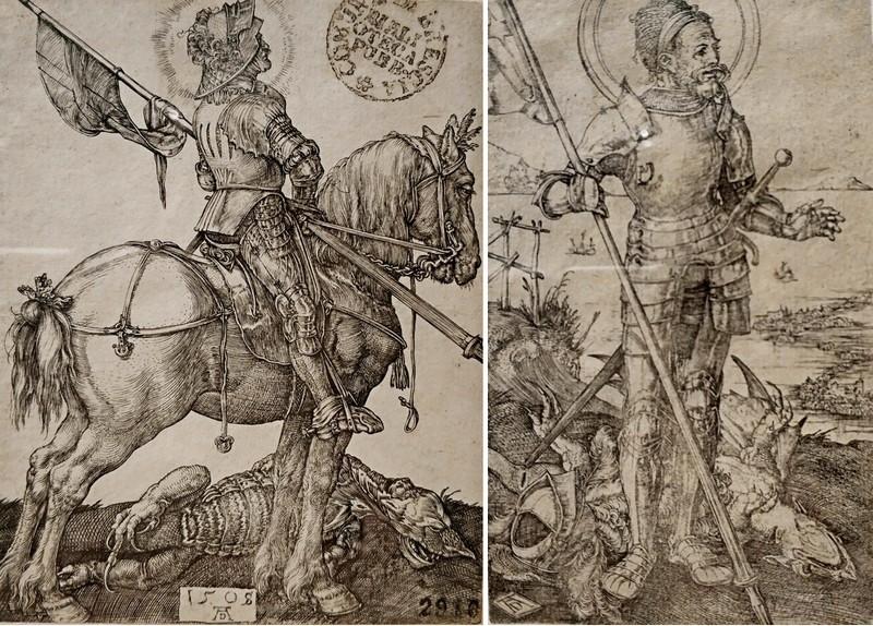 Альбрехт Дюрер. Конный Святой Георгий. 1508. - Пеший Святой Георгий. Около 1502-1503.