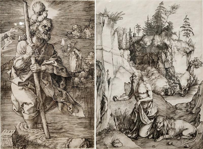 Альбрехт Дюрер. Святой Христофор. 1521. - Святой Антоний у стен города. 1519.